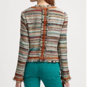 Tory Burch Abigail Multicolor Woven Fringe Blazer